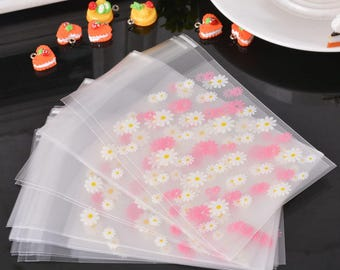 10 sachets bags pouches plastic self-adhesive 10x6.8cm flower