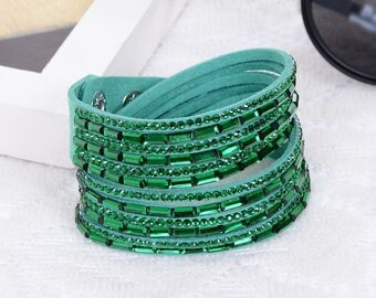 1 green rhinestone colours MULTISTRAND bracelet