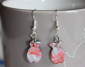 Earrings polymer clay and red ink