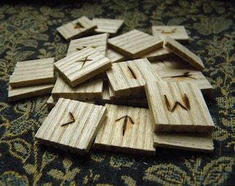 Ash Wood Tiles Elder Futhark Runes
