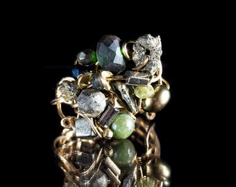 Pyrite,Fresh water pearl,Hematite and Chrysophras Gold filled wire ring