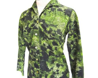 S M 60s Shirt Green Black Graphic Print 3/4 Sleeves Cotton Mod Button Front Collar Small Medium