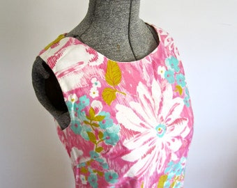 M 60s Floral Print Shift Dress Summer by Screen Printed Cotton Japan Pink Yellow White Blue Tuquoise Blue Medium
