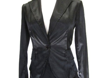 S Blazer Black Satin Jacket Sports Coat Women's 90s Button Front Evening by Rampage
