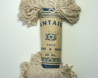 Echeveau fil coton fantaisie pour broderies et ouvrages, 50 g, écru, vintage.