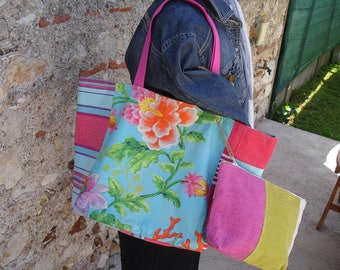 Pink and turquoise linen and cotton reversible tote bag