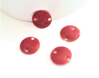 Set of 4 connectors glazed round red tomato, 12mm coin enameled two-sided / double-sided