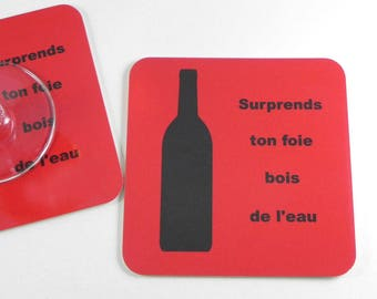 Underneath of humorous glass catch your liver drinking water coaster humor gift drink coasters