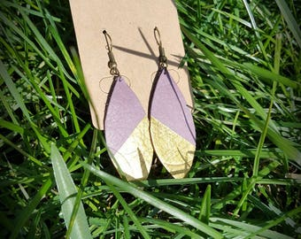 Lilac and gold leaf earrings