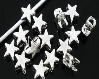 Star beads 20 antique silver metal
