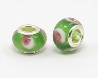 2 beads pink green white Lampwork Glass 12 mm