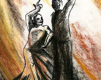 Dancers Sevillanas, drawing in ink, pastel and sanguine dry