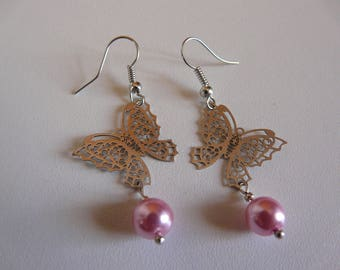 """EARRINGS - BUTTERFLY AND PEARL """"PEARLY PINK"""""""