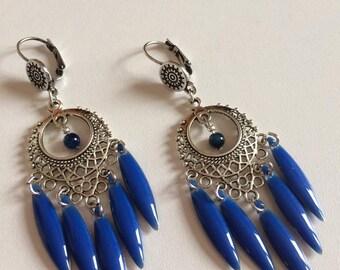 BOUCLES D'OREILLES  avec navettes émaillées bleu cobalt