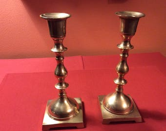 Vintage Pair of Brass Candle Sticks