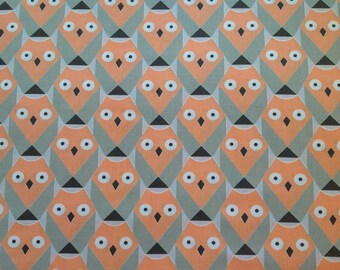 100% cotton fabric, orange owls