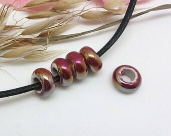 Set of 2 washers ceramic beads iridescent Burgundy - 13 * 6 mm