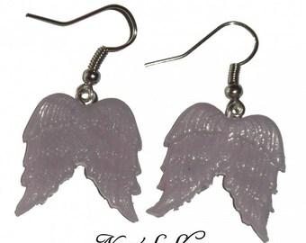 Angel Wings, Fimo rose quartz earrings