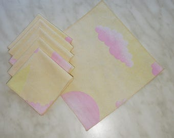 Set of 6 reusable cloth handkerchiefs, sand yellow and pink clouds
