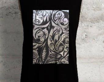 Black Sleeveless Muscle Tee with Twisted Circus Painting by Noora Elkoussy
