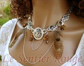 Ethnic necklace plastron Azteka style
