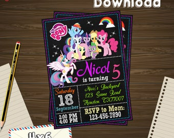 Little pony Invitation, little pony Birthday, little pony Party, little pony Printable, little pony Editable, pony PDF, little pony edit