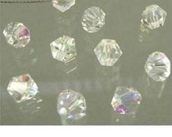 Set of ten beads with facets and sparkle 4mm bicone Crystal