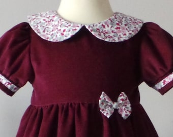 dress in Burgundy velvet milleraie 6 months