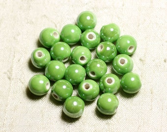 100pc - ceramic porcelain iridescent 10mm Apple green round beads