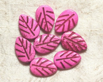 10pc - beads Turquoise synthetic - 20 mm Rose 4558550033925 leaves