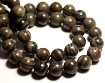 2PC - large stone Jasper coffee beads - 14mm 4558550038166 balls