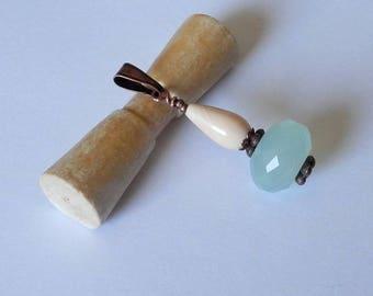 Nimlil 01 mixed M/F chalcedony conch copper metal pendant
