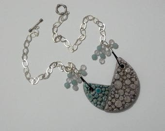 Lavender Eilowni Raku Amethyst necklace Amazonite and silver