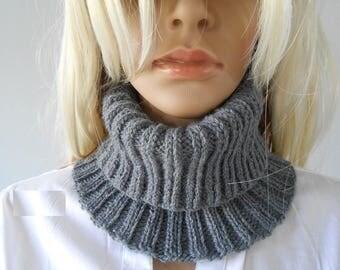 col snood femme gris ,snood laine/.fait a main/snood tricot/col roulé/accessoires tricotés