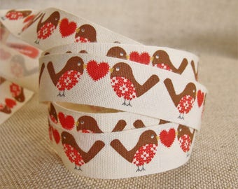 Set of 3 meters of birds and hearts Ribbon