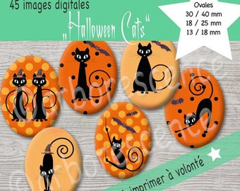 Halloween Cats - Images Digital 40 X 30 mm oval.