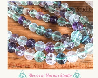 5 fluorite 8mm top quality beads! 100% natural for reiki, chakra