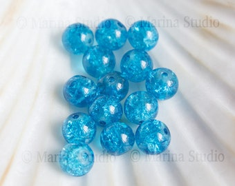 25 cracked turquoise blue beads 8mm