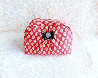 Printed with Medallion red make-up pouch