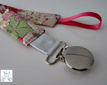 Pacifier clips round - Liberty Mauvey pink