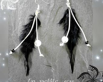 Glass beads and leather feathers earrings