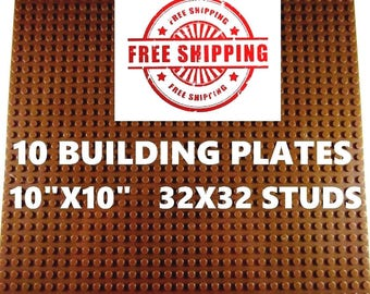 """10 New Lego Compatible 10""""x10"""" Brown Base Plates Board and 1 Genuine Lego Brick"""