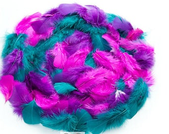 Gorgeous genuine feathers, bright purple/pink/teal