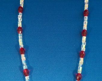Sparkly Red and White Glass Bead Necklace, Bling, Shiny, Modern