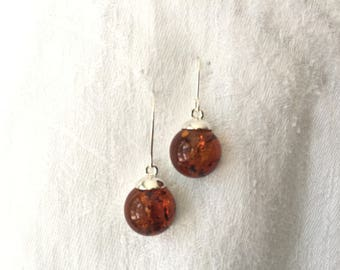 Cognac Baltic Amber Cabachon Dangle Earrings - 925 Sterling Silver
