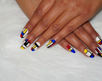 Bauhaus Inspired Press On Nails | Nail Art | Fake Nails | Faux Nails | Coffin, Stiletto, Almond, Square, Round, etc