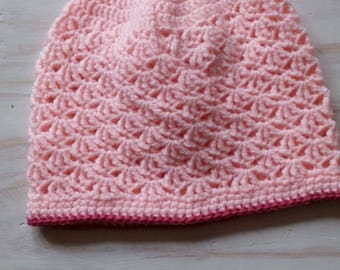 Pink wool hat for girl