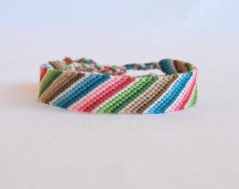 Wide friendship bracelet ethnic blue pink green brown bracelet men women Brasilda Mexico hippie