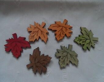 set of 6 natural wood 6 maple leaf embellishments