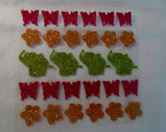 1 lot of 28 stickers butterfly, flower elephant foam, embellishment, die - cut stickers